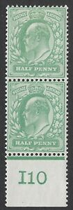 GB :ED VII 1/2d yellow- green control I10  PERFORATED  margin mint pair