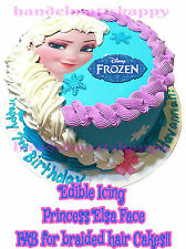 Edible FROZEN Princess Elsa Braid Face Braided Hair Birthday Icing Cake Toppers