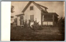 Postcard RPPC c1904-1918 United States Man in Front of Old House Garden View