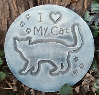 Cat Kitten plaque mold garden ornament decorative stepping stone mould