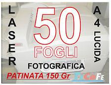 CARTA PATINATA LUCIDA  A4 , STAMPANTI LASER, RIVISTE VOLANTINI 150gr  50 FOGLI