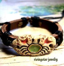 Handmade Cool Horoscope Cancer Enamel Fashion Surfer Leather Bracelet Wristband