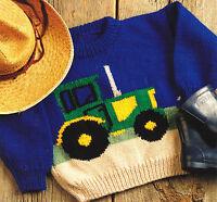 "Tractor Farm Sweater Baby Children Knitting Pattern Aran Wool 22"" -28"""