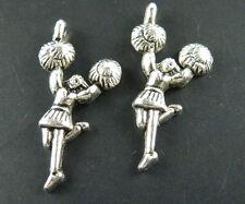 15pcs Tibetan Silver Cheerleader Charms 29x14mm 8005