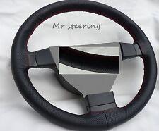 Se adapta a Nissan Skyline R32 Top Negro De Cuero Perforado volante cubierta Roja St