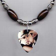 Jason Aldean Photo Guitar Pick Necklace Dark Brown Beads