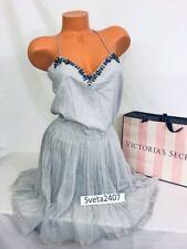Victoria's Secret Gray Sky Jeweled Straps Pleated Lounge Beach Cocktail Dress M