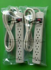 (LOT 2) All Systems Broadband 6-Outlet Surge Protector w/4ft Power Cord - BEIGE