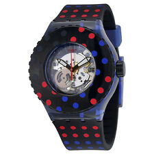 Swatch Polka Dot Transparent Dial Black Silicone Ladies Watch SUUN100