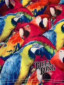 Pink Tropical Lost Paradise Parrots Hawaiian Billabong Surf Board Shorts Sz 32
