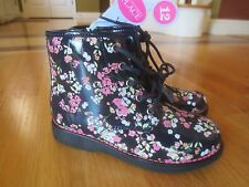 Girl TCP FLOWERS FLORAL DARK NAVY BLUE SHINY BLACK PATENT COMBAT BOOTS NWT 12