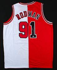 Chicago Dennis Rodman Signed White and Red Jersey Autograph BAS Beckett COA