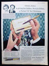 GLYNIS & MERVYN JOHNS FILM ACTRESS ACTOR PARKER 51 FOUNTAIN PEN ADVERT 1955