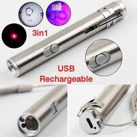 Láser LED multifunción USB Recargable linterna de la lámpara antorcha pluma UV