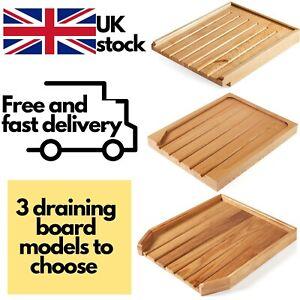 Angled Wooden Draining Board Belfast Sink Butler Drainer - Solid Oak Wood