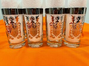 """MID-CENTURY """"KIMIKO"""" HIGHBALL GLASSES WITH GUARDIAN CREST 12oz.(SET OF 8)"""