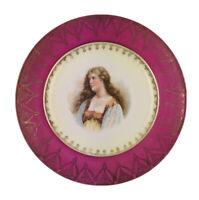 """Vintage Woman  PORTRAIT/CABINET PLATE~ Pink & Gold Trim~9.5"""""""