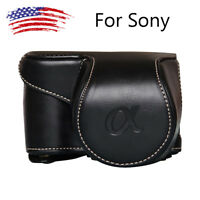 Leather Camera Bag Case Cover Pouch For Sony A6000 A6300 NEX6 Cameras Bags US