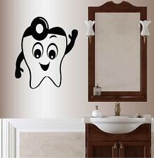 Wall Vinyl Decal Smiling Happy Tooth Bathroom Dentist Dental Office Cabinet 511