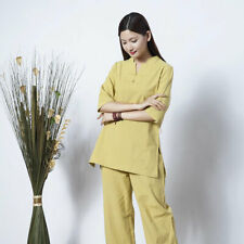 Womens Linen Tai Chi Uniform Kung Fu Suits Yoga Sets Sports Shirts+pants ou00