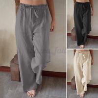 Womens Elastic Waist Cotton Linen Trousers Casual Loose Wide Leg Pants Plus Size