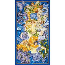LARGE HOLIDAY BLUE FAIRIES PANEL WALL HANGING FABRIC MATERIAL QUILTS HOME DECOR