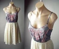 Folk Tribal Embroidery Crochet Lace Strappy Boho Indie Sun 150 mv Dress S M L