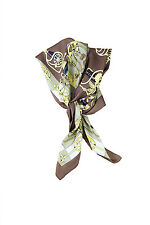 "* hermes * vintage cliquetis marron silk scarf 35"""