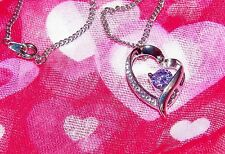 EXQUISITE CRYSTAL AND SILVER PLATED HEART PENDANT  With 18-Inch Chain