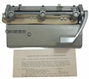 Heavy Duty 3 Hole Punch Metal Government Issue Instructions Foothill 310 Retro