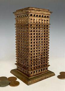 Antique Cast Iron Still Penny Bank: Kenton High Rise Skyscraper Building, c.1920