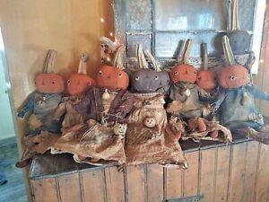 Primitive Country Handmade Fall Pumpkin Boy or Girl Doll Rustic Gourd Sunflower