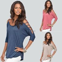New Sexy Fashion Women Loose Tops 3/4 Sleeve Shirt Casual Blouse Top 35DI
