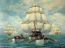 Boats of USS Constitution Towing Her Pursued by a Squadron of British War Ships