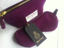 Purple Harris tweed make up cosmetic pouch bag case clutch bag made in Scotland