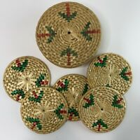 Vintage Wicker Coaster Set Woven Colored Round Storage Box with 5 Coasters