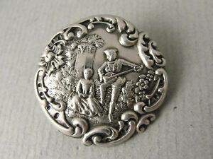 Fine Art Nouveau Silver BUTTON. Courting Scene - Hallmarked Birmingham 1900