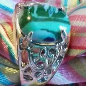 925 Sterling Silver Plated Ring Blue Green Malachite Stone New Size 10.5 Mens US