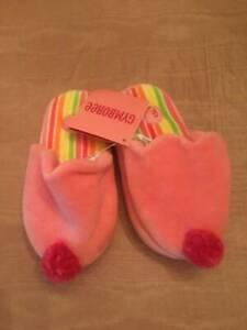 NWT Gymboree Sweet Treats Pink Pom Pom Candy Sweet Pink Slippers Girls Sz 7-8