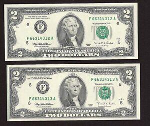 #2 1995 $2.00 FRN ATLANTA ** END OF ROLL ERROR ** GEM-CU
