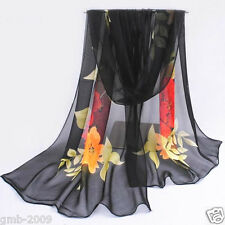 New Women's Black Floral Print Soft Wrap Shawl Chiffon Scarf Long Silk Stole