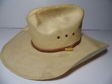 Vintage LARRY MAHAN'S Milano Cream Cowboy Hat 8X HANDWOVEN SHANTUNG Size 6 7/8