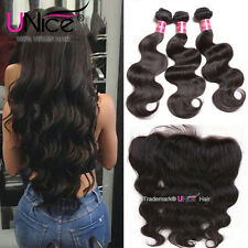 UNice Malaysian Body Wave Human Hair 3 Bundles With Lace Frontal Hair Extensions