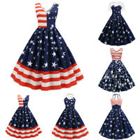 Women Vintage Sleeveless V Neck American Flag Print Evening Party Swing Dress US