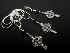 A TIBETAN SILVER CELTIC  CROSS NECKLACE AND LEVERBACK HOOK EARRING SET. NEW.