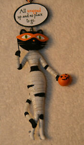 Hallmark Black Cat Mummy Outfit Halloween Ornament - All Wrapped Up and No Place