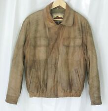 Vtg New Zealand Outback Cooper Collection Leather Bomber Jacket Distressed Brown