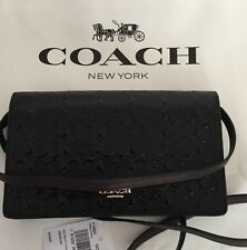 COACH F15620 Foldover Clutch Crossbody In Signature Debossed Patent Leather NWT