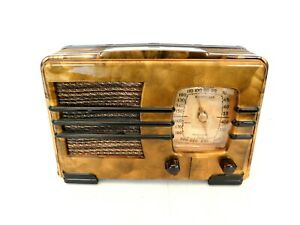 VINTAGE 1940s EMERSON ANTIQUE RESTORED & SWIRLED CATALIN COLORS BAKELITE RADIO