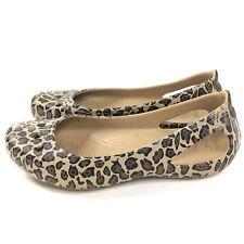 Crocs Kadee Animal Printed Flats Womens Size 6 Lightweight Flexible Tan Brown
